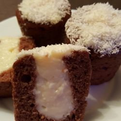 Cakes in Coffee Cups with Cream