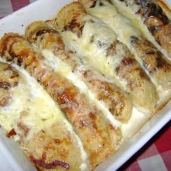 Toasted Pancakes with Feta Cheese, Cream and Cheese