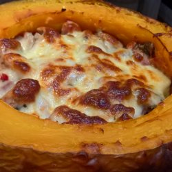 Pumpkin Stuffed with Meat and Mushrooms