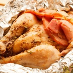 Roasted Quails in Foil