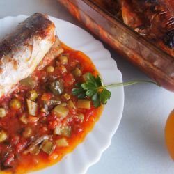 Mackerel in Tomato Sauce with Peas and Pickles