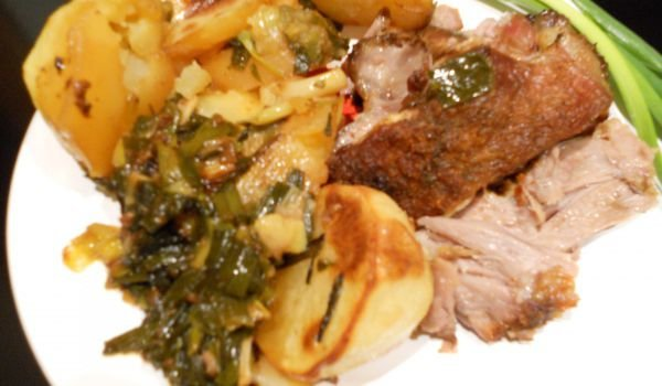 Roast Lamb Neck with Potatoes and Green Onions
