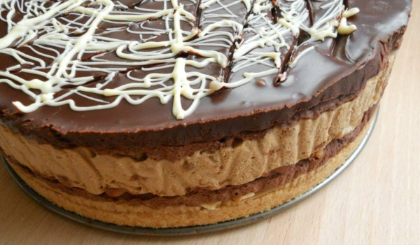 Biscuit Cake with Coffee and Chocolate Mousse