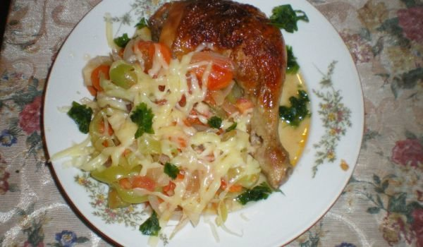 Chicken Drumsticks with Sauteed Vegetables