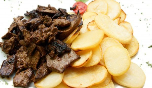 Chicken Livers with Baked Potatoes