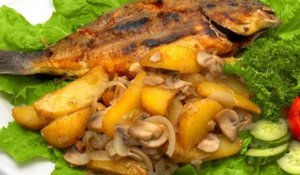 Fried Fish with Sautéed Vegetables