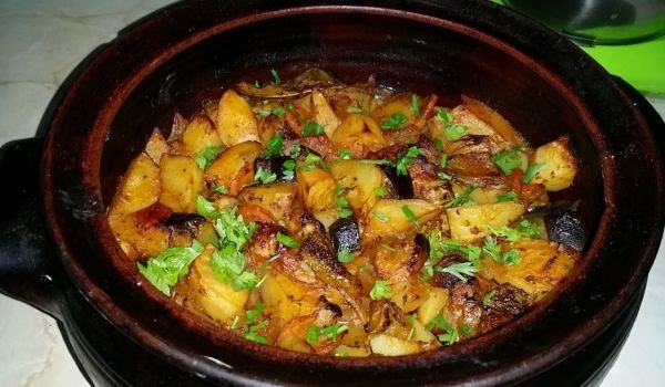 Meat with Potatoes and Vegetables in a Clay Pot