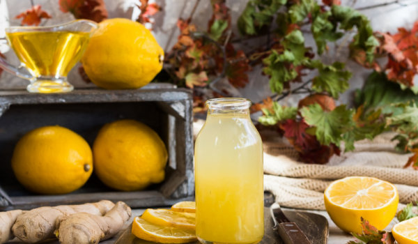 Ginger water with lemon