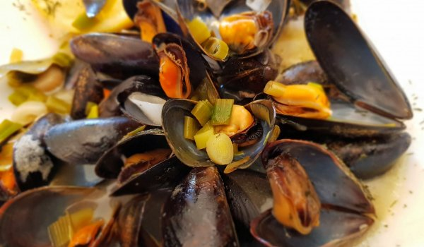 Stewed Mussels with Dill and Fresh Garlic