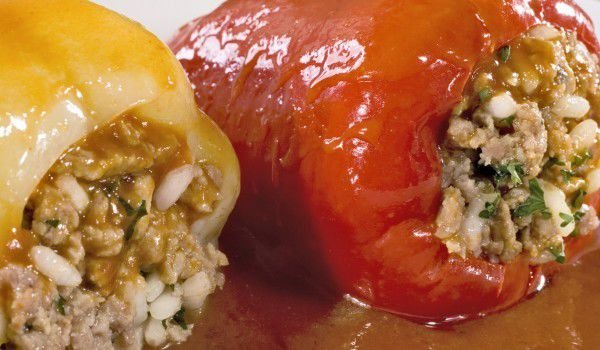 Stuffed Peppers with Rice and Okra