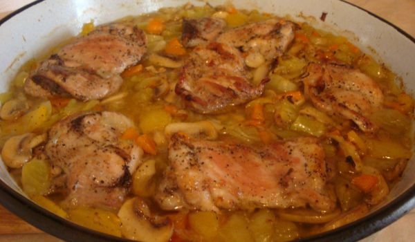 Chicken Steaks with Vegetables in the Oven
