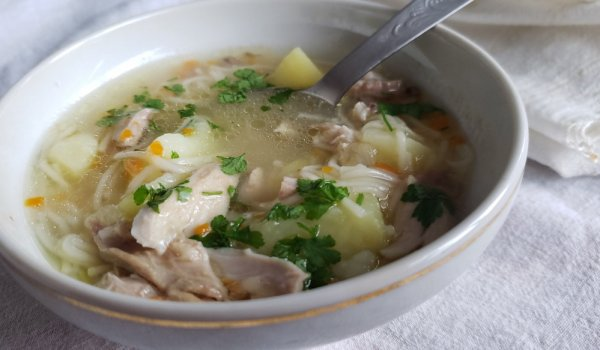 thick chicken soup with noodles - recipe   tastycraze