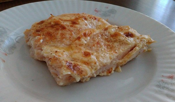 Chicken Steaks with Mayonnaise and Processed Cheese
