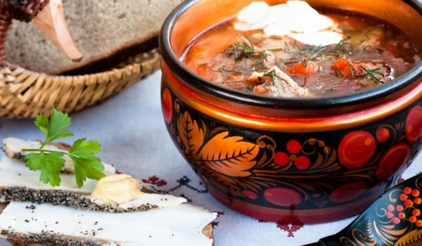 Pork Soup with Celery and Beetroots