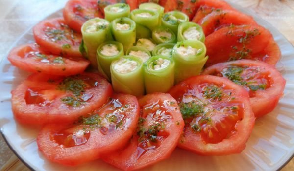Tomato and Cucumber Salad in Unique Arrangement