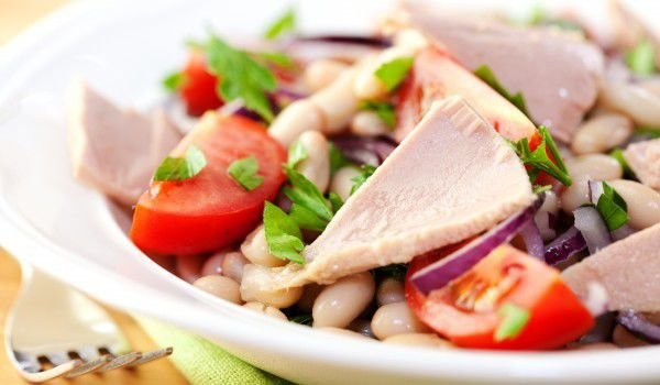 Bean Salad with Pickled Ham