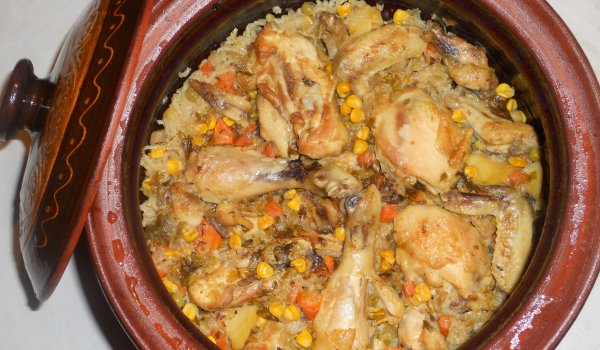 Colorful Clay Pot with Chicken