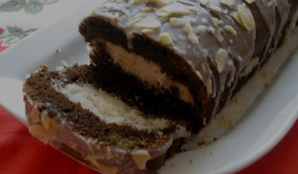 Cake with Cocoa and Coconut Flakes