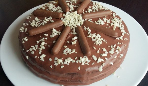 Juicy Chocolate Cake with Creams and Syrup