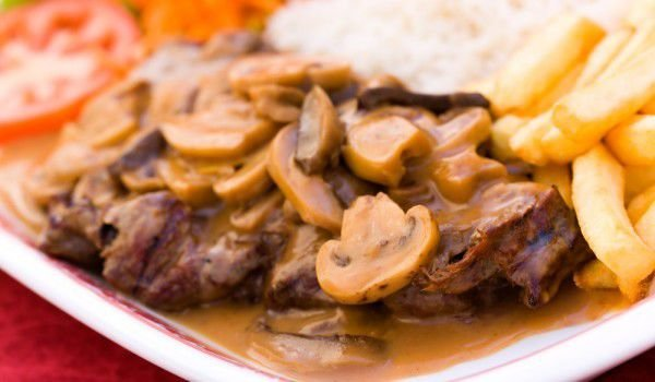 Oven Grilled Steaks with Mushrooms