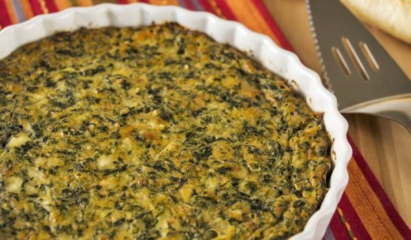 Spinach with Eggs and Feta Cheese in the Oven