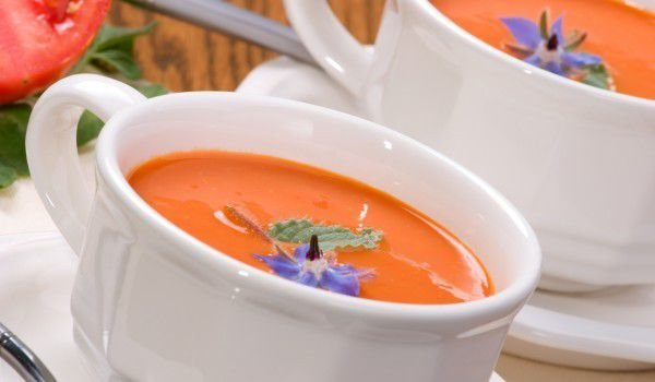 Tomato Soup with Feta Cheese and Onions