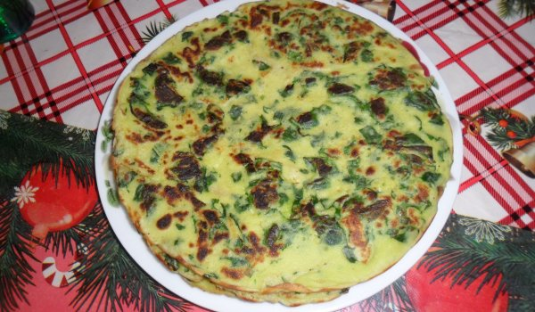 Spinach Pancakes with Prosciutto and Cheese