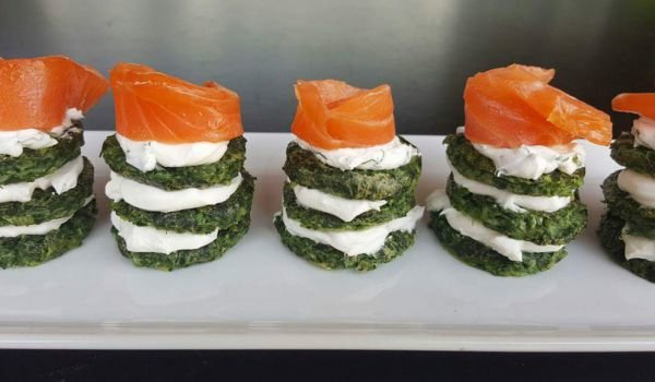 Spinach Bites with Smoked Salmon