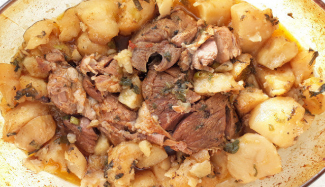 Lamb Stew with Potatoes in a Clay Pot